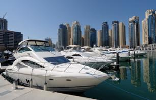 Speedboat cruise around Palm Jumeirah, an artificial archipelago in Dubai