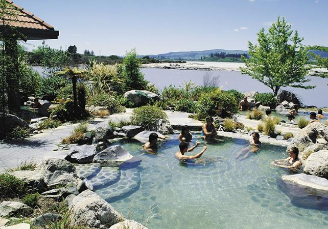 Embrace nature's sanctuary and slip into five mineral hot pools overlooking Lake Rotorua.