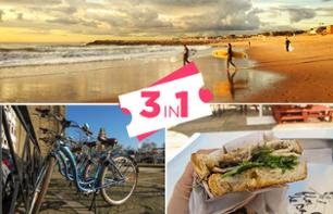 Combo Tour: Bike Rental, Surf Session and Portuguese Snacks – Porto