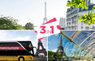 Combo Tour: Paris Bus Tour + Seine River Cruise + Eiffel Tower Access (2nd floor tickets)