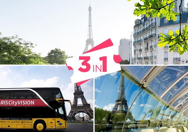 Offre 3 en 1 : Tour en bus, Croisière seine & Billet 2ème étage Tour Eiffel - Paris - Ceetiz