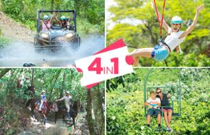 4-in-1 Tour: Buggy Driving, Horseback Ride, Zip line and Chairlift – Departing from Punta Cana