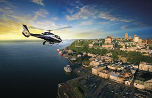 Helicopter flight over Quebec and the surrounding area