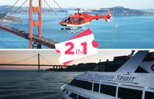 Helicopter Flight over San Francisco and Sunset Dinner Cruise in the bay