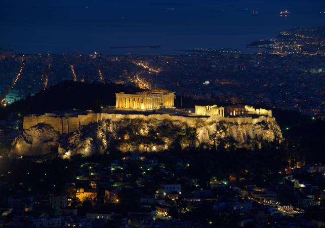 Visite d'Athènes de nuit en bus- spectacle et dîner traditionnel grec - Athènes -
