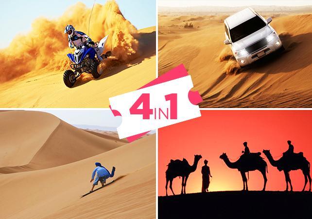 Photo Aventure 4 en 1 dans le désert : dune bashing en 4x4, sand boarding, quad et balade en chameau