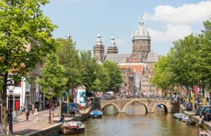 Guided bus tour of Amsterdam and canal cruise