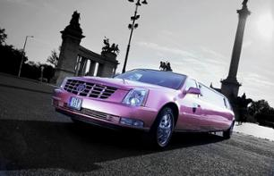 Private transfer in a pink Cadillac limousine from Ferenc Liszt Airport to your hotel