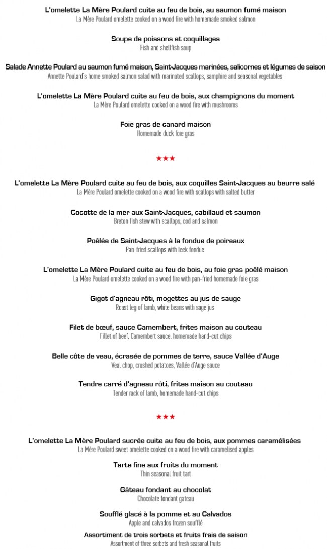 Restaurant Mere Poulard Menu