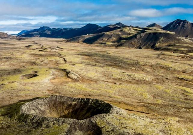 Photo Survol des cratères volcaniques en hélicoptère