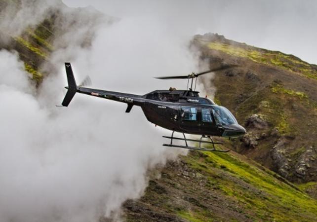 Photo Survol des sources chaudes et champs de lave en hélicoptère