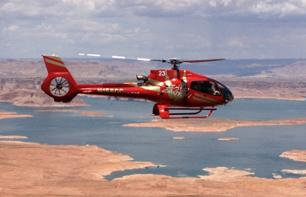 Helicopter flight over Lake Powell and Horseshoe Bend - Departing from Page