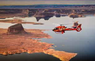 Helicopter flight: Lake Powell, Horseshoe Bend & landing on the top of the Tower Butte + Guided visit of Antelope Canyon - Departing from Page