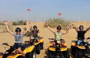 Quad bike driving in the dunes with BBQ dinner in a Bedouin camp